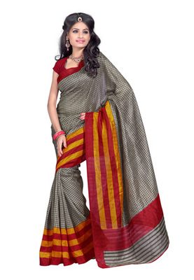 Fabdeal Casual Wear Grey & Red Colored Bhagalpuri Silk Saree