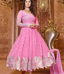 Buy Baby pink georgette embroidered semi stitched salwar with dupatta (Premium quality) anarkali-salwar-kameez online