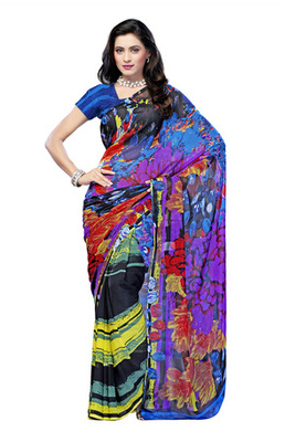 Fabdeal Casual Wear Black & Yellow Colored Georgette Saree