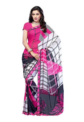 Fabdeal Casual Wear Pink & Black Colored Georgette Saree