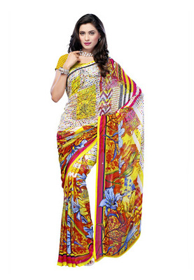 Fabdeal Casual Wear Yellow Colored Georgette Saree