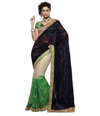 Dealtz Fashion Multi Embroidery Black/Green Net/Georgette Saree