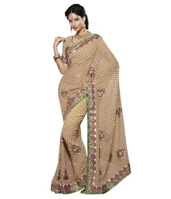 Dealtz Fashion Multi Embroidery Cream Moss Saree
