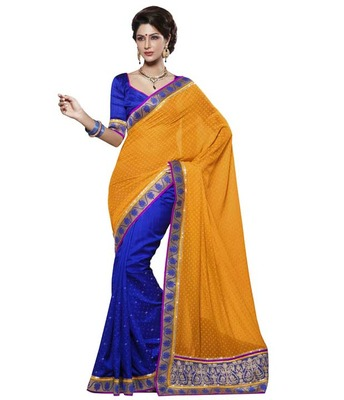 Dealtz Fashion Multi Embroidery Orange Faux Georgette Saree