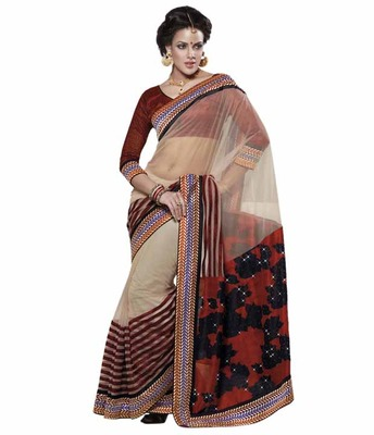 Dealtz Fashion Multi Embroidery Cream Net Saree
