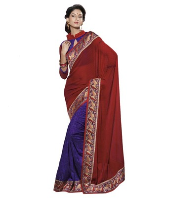 Dealtz Fashion Multi Embroidery Red/Dark Blue Polysatin Saree