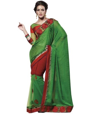 Dealtz Fashion Multi Embroidery Lime Green Crepe Jacquard Saree