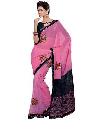Dealtz Fashion Multi Embroidery Pink Faux Georgette Saree