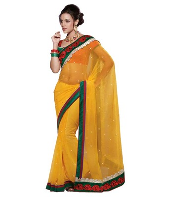 Dealtz Fashion Multi Embroidery Yellow   Moss Saree
