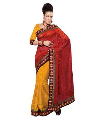 Dealtz Fashion Multi Embroidery Yellow/Red Crepe Jacquard Saree
