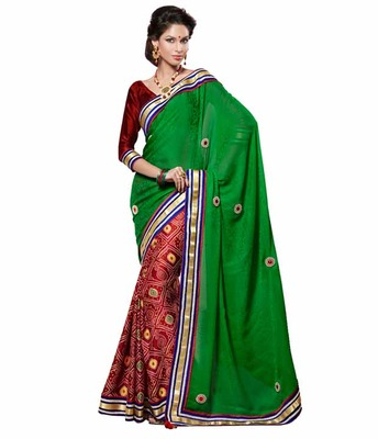 Dealtz Fashion Multi Embroidery Green Chiffon Jacquard Saree