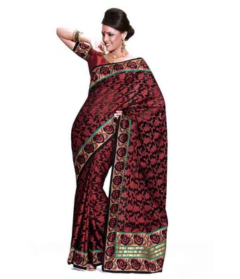 Dealtz Fashion Multi embroidery Cherry net brasso Saree