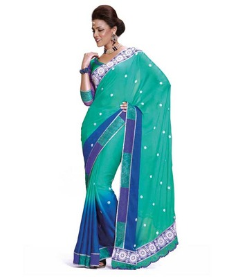 Dealtz Fashion Multi embroidery cyan Faux georgette Saree