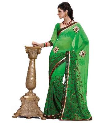 Dealtz Fashion Multi embroidery Light Green Faux georgette Saree