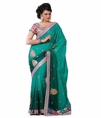 Dealtz Fashion Multi embroidery Green Faux georgette Saree