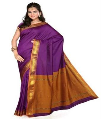 Dealtz Fashion Violet  Poly Silk Saree