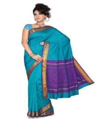 Dealtz Fashion Blue Poly Silk Saree