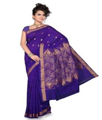Dealtz Fashion Violet Golden Poly Cotton Saree