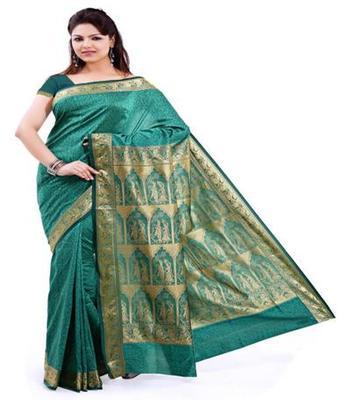 Dealtz Fashion Green Poly Silk Saree