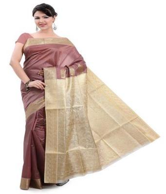 Dealtz Fashion Brown Poly Silk Saree