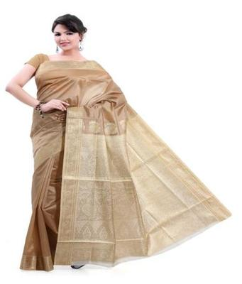 Dealtz Fashion Cream Poly Silk Saree
