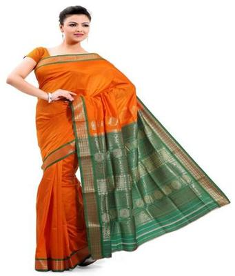 Dealtz Fashion Orange Poly Silk Saree