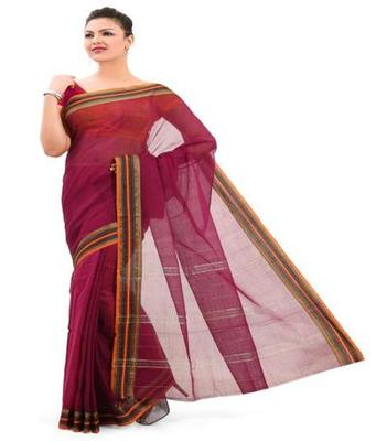 Dealtz Fashion Pink Cotton Mercerised Saree