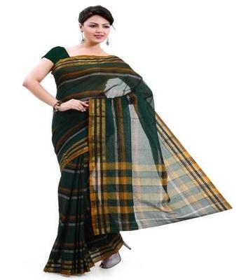 Dealtz Fashion Green Cotton Mercerised Saree