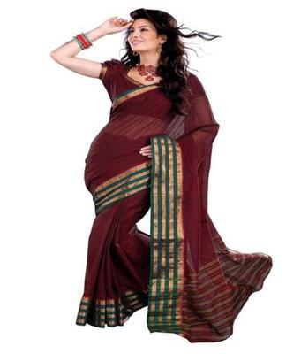 Dealtz Fashion maroon Cotton  Saree