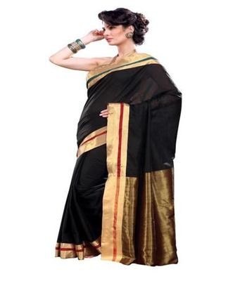 Dealtz Fashion Dark Cotton  Saree