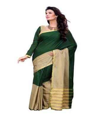 Dealtz Fashion Green Cotton  Saree