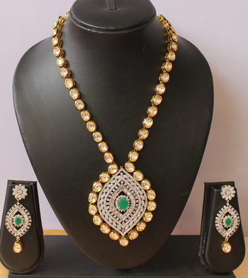 Royal Cz  Real Kundan Bridal Necklace Set
