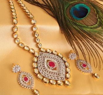 Royal Cz  Real Kundan Bridal Necklace Set