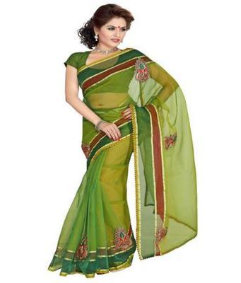 Dealtz Fashion Green Tissue Net Saree