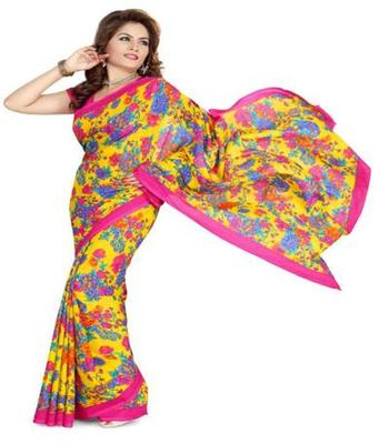 Dealtz Fashion Multicolor Poly crepe Saree