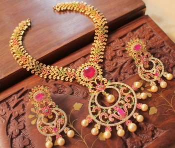 Aewsome Cz Ruby Emerald Designer Bridal Necklace Set