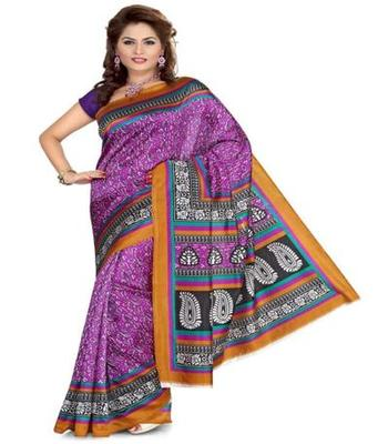 Dealtz Fashion Multicolor Poly crepe Saree