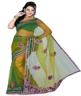 Dealtz Fashion Mehandi Tissue Net Saree