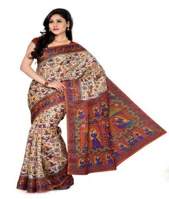 Dealtz Fashion Multicolor Bhagalpuri Silk Saree