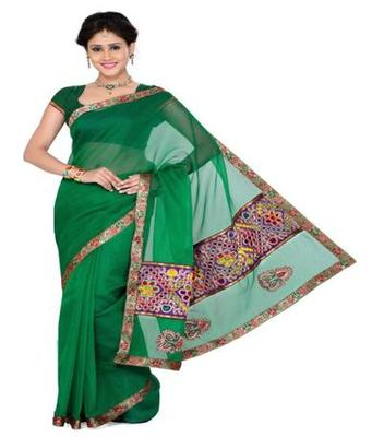 Dealtz Fashion Green Semi-cotton Saree