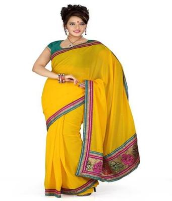 Dealtz Fashion Yellow Georgette Saree