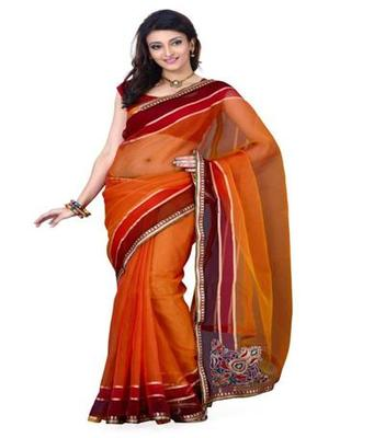 Dealtz Fashion Orange  Tissue Net Saree