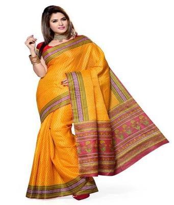 Dealtz Fashion Orange Bhagalpuri Silk Saree