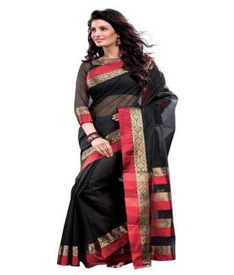 Dealtz Fashion Black Cotton  Saree