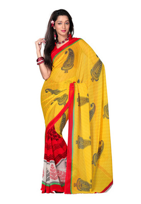 Fabdeal Casual Wear Yellow & Red Colored Georgette Saree
