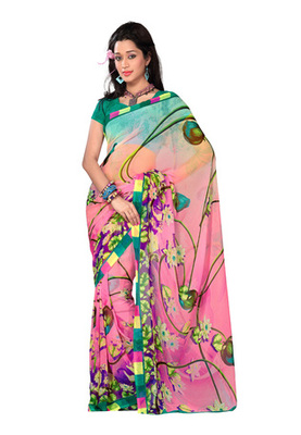 Fabdeal Casual Wear Light Pink & Green Colored Georgette Saree