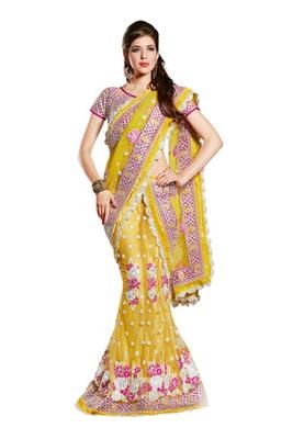 Fabdeal Party Wear Yellow & Magenta Colored Net lehenga Choli