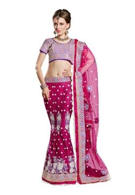 Fabdeal Party Wear Magenta & Purple Colored Net lehenga Choli