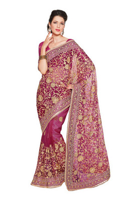Fabdeal Party Wear Magenta Colored Net Saree