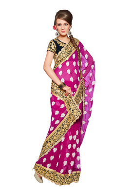 Fabdeal Party Wear Magenta & Black Colored Faux Georgette Saree